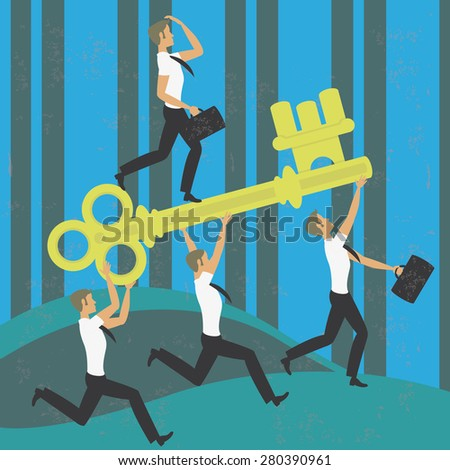 Teamwork running with the key to success Illustration of four businessmen working together achieving the success running with a key. The grunge texture is removable from the background. - stock vector