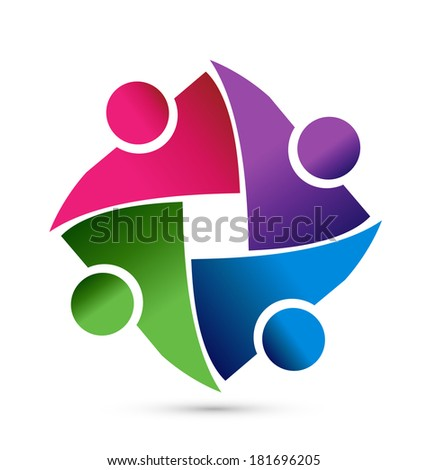 Teamwork shutter speed exposure shape people abstract icon vector - stock vector