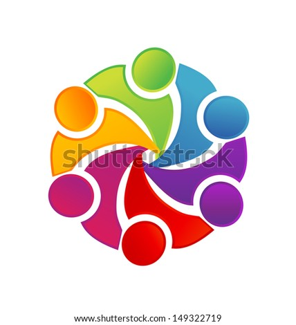 Teamwork social media people illustration vector design or People symbols working as team - stock vector