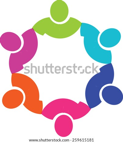 Teamwork Social Network, Group of 4 people business relationship and collaboration. - stock vector