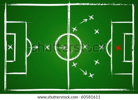 Teamwork strategy. Football positions. - stock vector