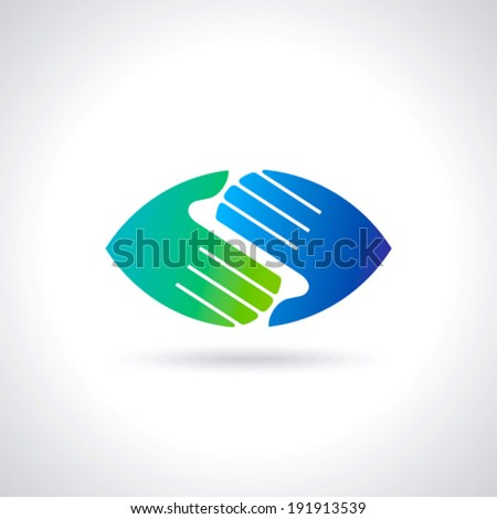 Teamwork symbol. Multicolored hands - stock vector