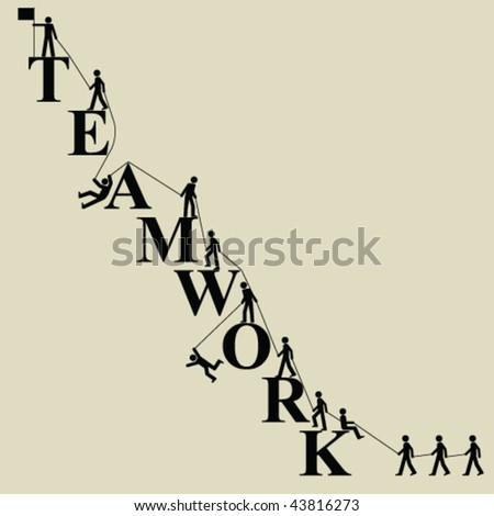 Teamwork themed mountaineering with people working together - stock vector