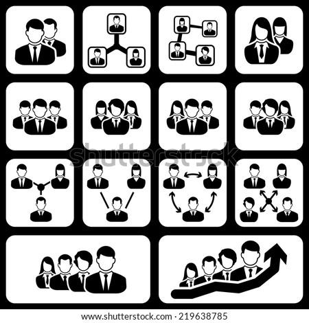 teamwork user icon black vector on white background - stock vector