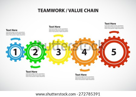 Teamwork / Value Chain - 5 Bright Cogwheels with Arrows, Vector Infographic - stock vector