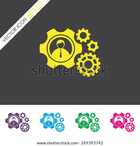 Teamwork vector icon. Gear and businessman sign. - stock vector
