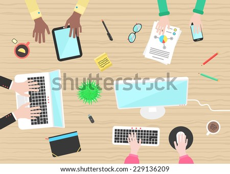 teamwork with hands and objects on wooden table. concept of working place, business meeting, briefing, planning and brainstorming. flat design trendy modern vector illustration - stock vector
