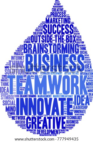 Teamwork word cloud on a white background.