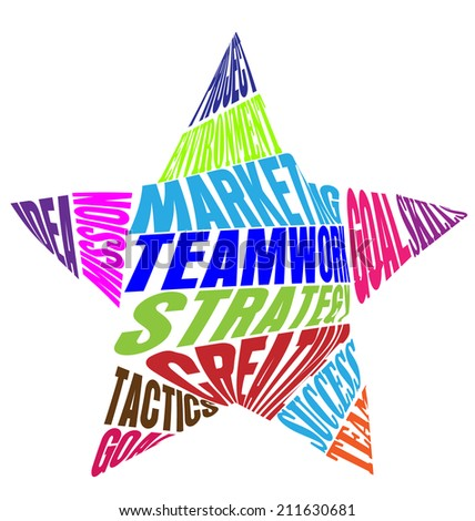 Teamwork words or meaning in a star shape vector icon colorful - stock vector