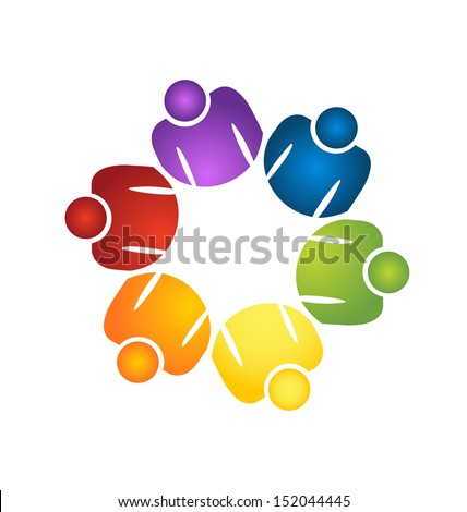 Teamwork working people vector icon app illustration - stock vector