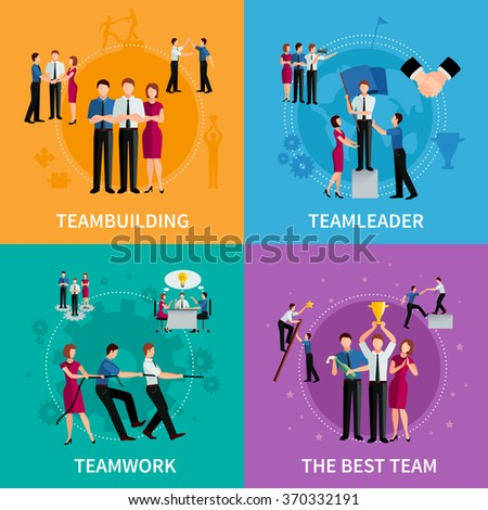 Teamwork 2x2 design concept set of corporate business compositions with men and women flat vector illustration - stock vector