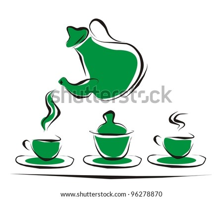 teapot and cups - stock vector