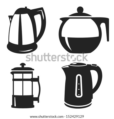 teapot and kettle icon set - stock vector