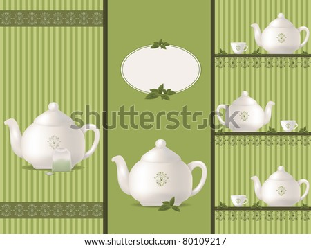 teapot banners - stock vector