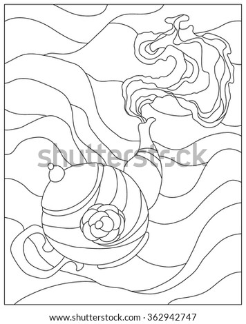 Teapot Coloring Page Stock Vector 362942747 - Shutterstock