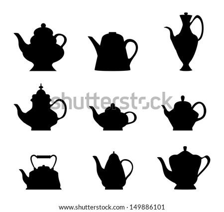 Teapot icon set - stock vector