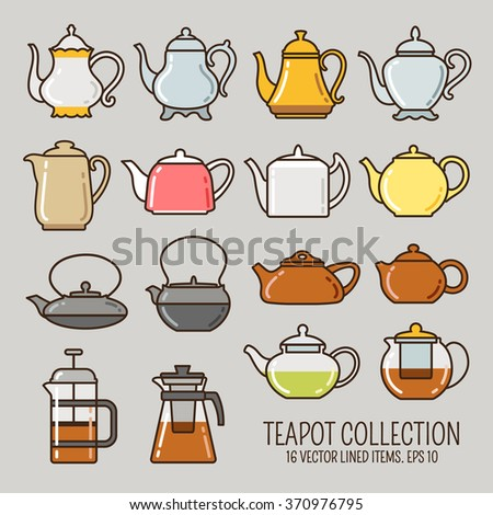 Teapot lined icons collection. Kettle, coffee and glass pots outline vector set.  - stock vector