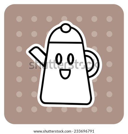 Teapot on the brown background - stock vector