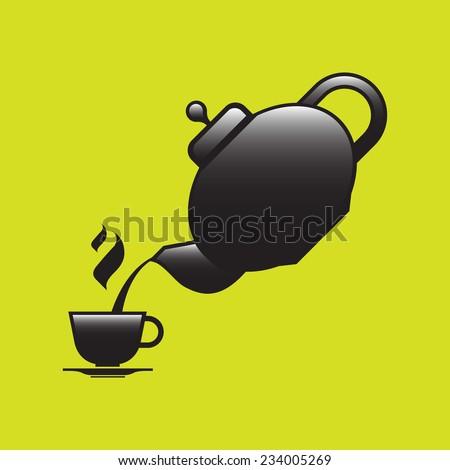 Teapot pouring tea into a cup - stock vector