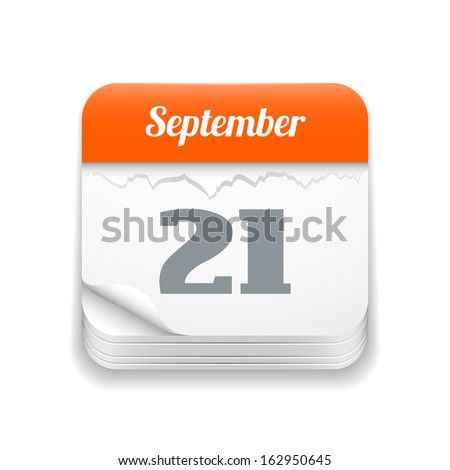 Tear-off calendar icon, vector illustration, isolated  background - stock vector