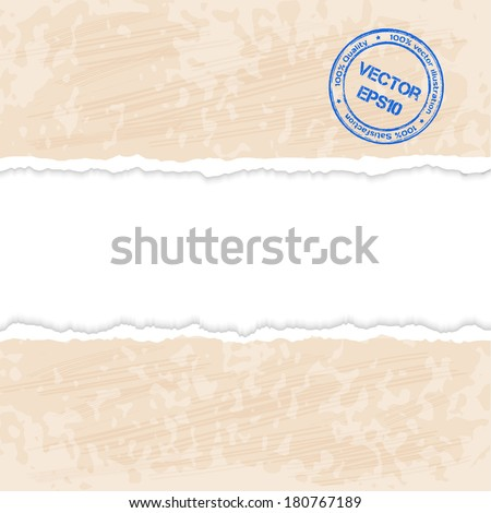 Tear paper on abstract background. Vector illustration. - stock vector
