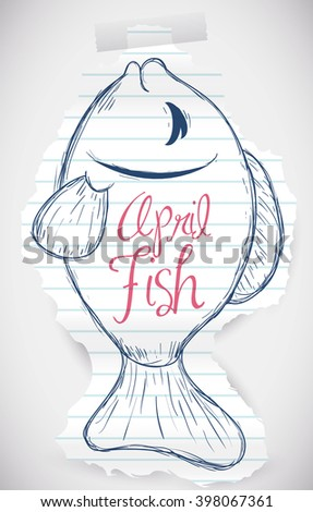 Tear rip paper with a sweet fish draw for April Fools' prank. - stock vector