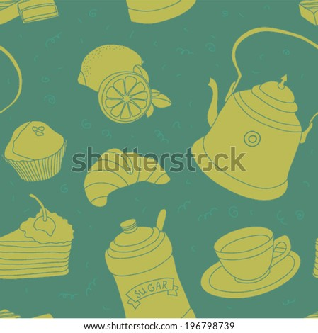 Teatime seamless vector pattern with sweets, cup of tea with lemon, sugar and cupcake - stock vector