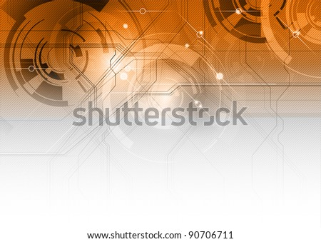 tech background on the orange gradient - stock vector