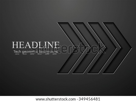 Tech black arrows background. Vector illustration - stock vector