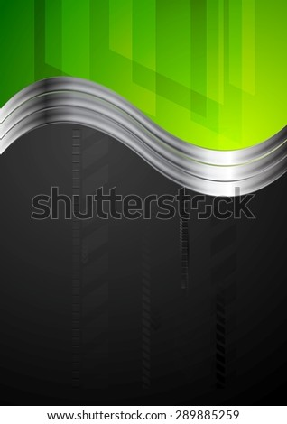 Tech bright background with metallic waves. Vector design - stock vector