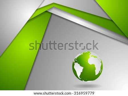 Tech corporate green grey background with earth globe. Vector design - stock vector