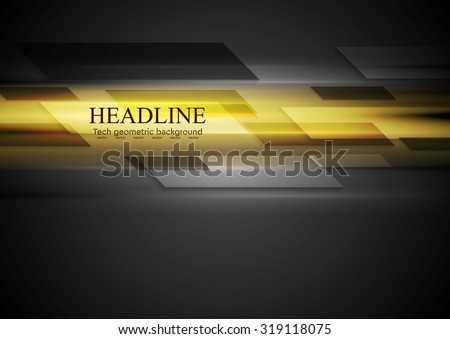 Tech dark background with yellow glowing light. Vector design - stock vector