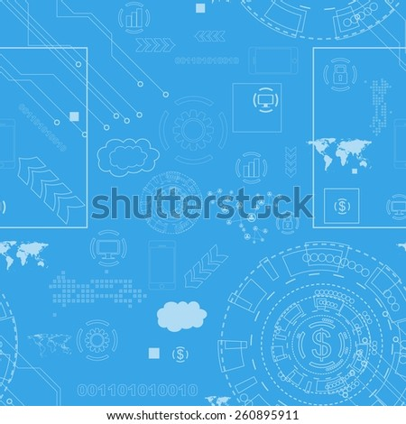 Tech engineering seamless drawing background. Vector design - stock vector