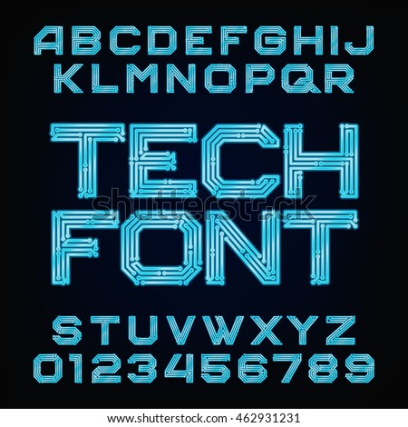 Tech font. Vector Alphabet. Digital hi-tech style letters and numbers.