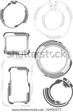 tech frames - stock vector