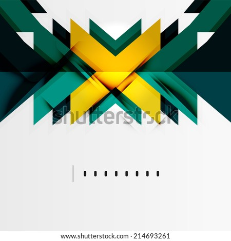 Tech futuristic geometric 3d shapes, minimal abstract background - stock vector