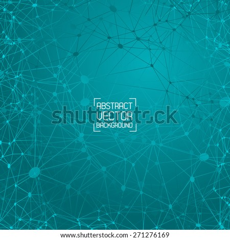 Tech green background with a pattern of lines and points the web. For web design and business presentations. Vector. - stock vector