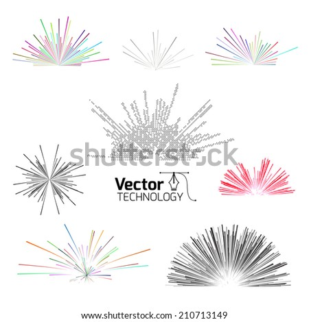 tech line explosion - stock vector