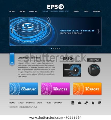 Tech services vector website template design - stock vector