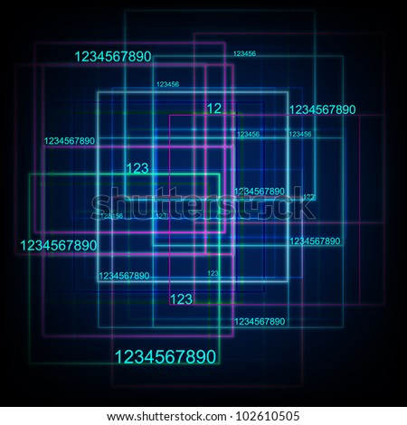 Tech With Digital Numbers. Jpeg Version Also Available In Gallery. - stock vector