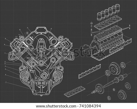 Line Drawing Vector Graphics : Technical blue background drawings details mechanismsengine stock