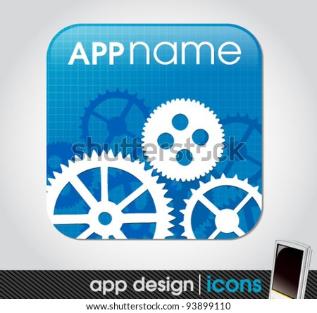 technical blueprint app icon for mobile devices - stock vector