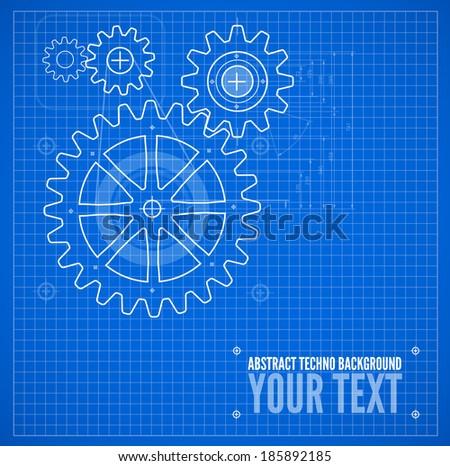 Technical blueprint template illustration on blue vector background - stock vector