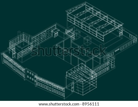 Easy D Line Drawings : Technical 3d draw building on green stock vector 8956111 shutterstock