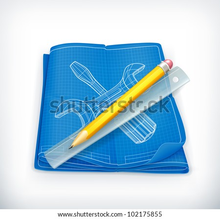 Technical drawing icon, vector - stock vector