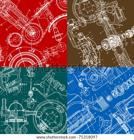 technical drawing or blueprint on black background - stock vector
