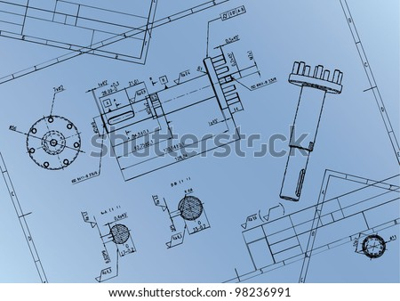 Technical drawing shaft of axial piston pump. Vector image. - stock vector