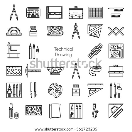 Technical drawing tools. Line icons set. Drafting kit, ruler, drawing board, portfolio, protractor, tape, mechanical pencil, ink, ruling pen,dividers, bow compass. Vector illustration. - stock vector