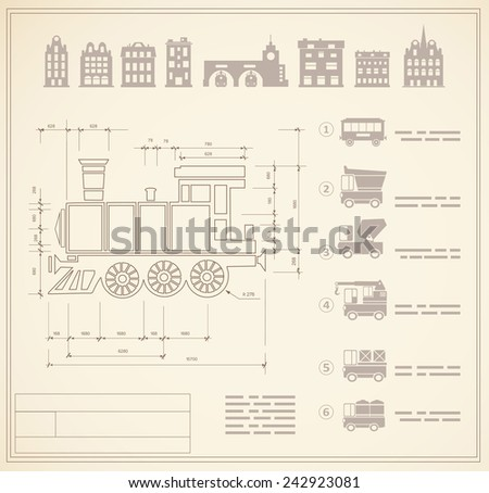 Technical drawings for locomotive engineers - stock vector