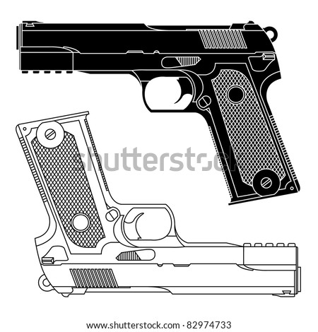 Technical line drawing of a 9mm pistol handgun.Precise lines.Shape isn't distinct to a particular manufacturer.Symbolizes danger,killing,violence,military,self defense, protection, or firearms.Vector. - stock vector